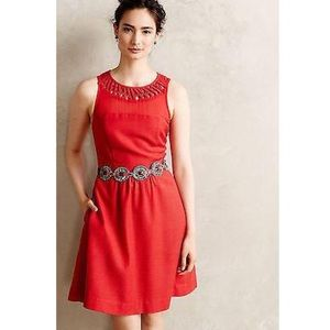 Anthro Red Lattice Neck Dress by Maeve in 14